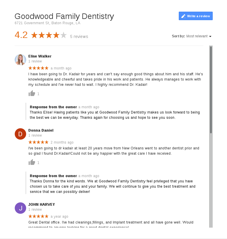 Recent reviews on Google left by patients